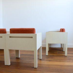 ensemble cubique salon : fauteuil de repas 1980 vintage 12