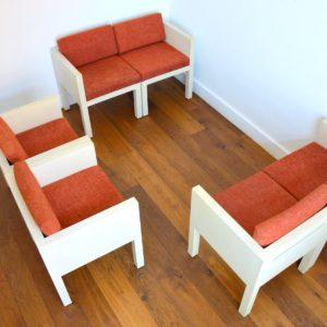ensemble cubique salon : fauteuil de repas 1980 vintage 32