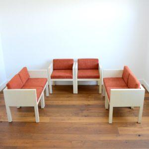 ensemble cubique salon : fauteuil de repas 1980 vintage 35