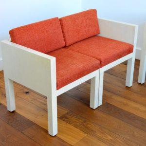 ensemble cubique salon : fauteuil de repas 1980 vintage 45