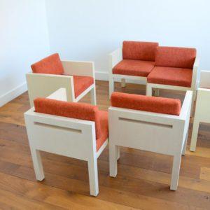 ensemble cubique salon : fauteuil de repas 1980 vintage 9