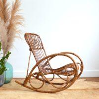 Rocking chair / Fauteuil à bascule en rotin Rohe Noordwolde années 50 / 60