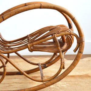 Rocking chair Rohe Noordwolde rotin : rotan 1950 vintage 20