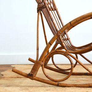 Rocking chair Rohe Noordwolde rotin : rotan 1950 vintage 22