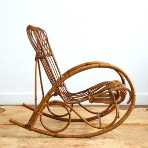 Rocking chair Rohe Noordwolde rotin : rotan 1950 vintage 27