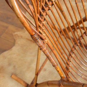 Rocking chair Rohe Noordwolde rotin : rotan 1950 vintage 30