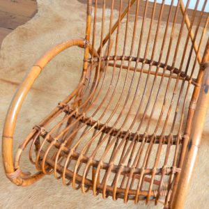 Rocking chair Rohe Noordwolde rotin : rotan 1950 vintage 36