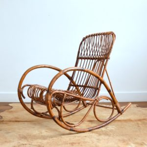 Rocking chair Rohe Noordwolde rotin : rotan 1950 vintage 40