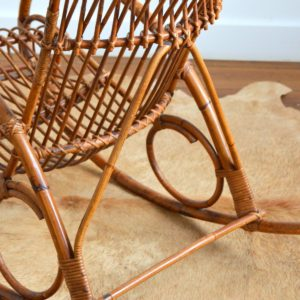 Rocking chair Rohe Noordwolde rotin : rotan 1950 vintage 42