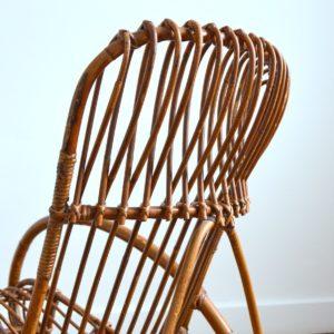 Rocking chair Rohe Noordwolde rotin : rotan 1950 vintage 45
