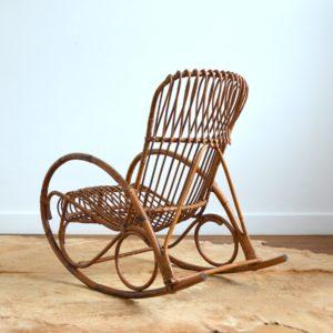 Rocking chair Rohe Noordwolde rotin : rotan 1950 vintage 46