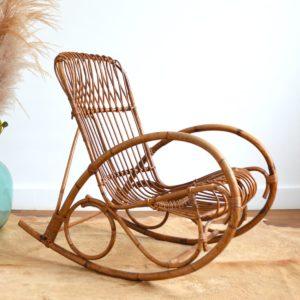 Rocking chair Rohe Noordwolde rotin : rotan 1950 vintage 7
