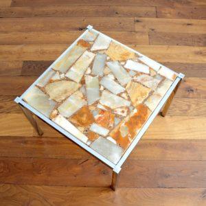 Table basse marbre et chrome années 60 : 70 vintage 1