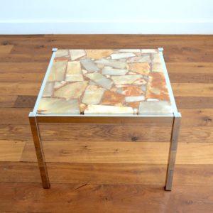 Table basse marbre et chrome années 60 : 70 vintage 25