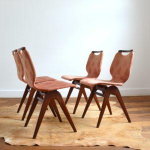 4 chaises Louis van Teeffelen teck 1960 vintage 1