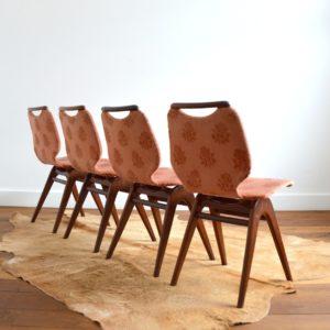 4 chaises Louis van Teeffelen teck 1960 vintage 2