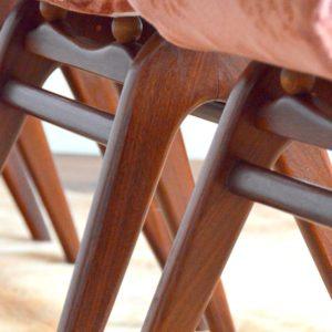 4 chaises Louis van Teeffelen teck 1960 vintage 21