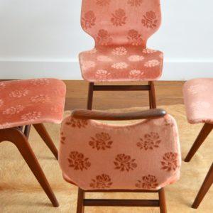 4 chaises Louis van Teeffelen teck 1960 vintage 45