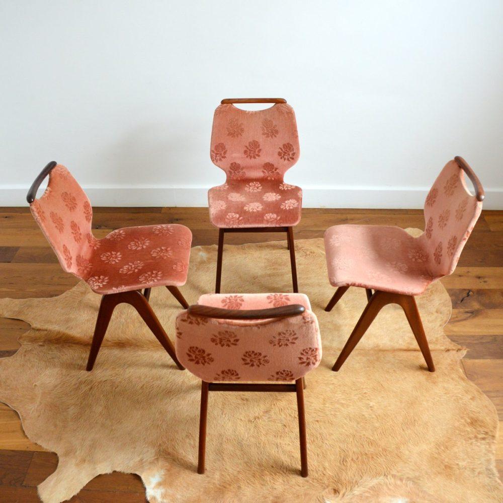 Suite de 4 chaises à manger Louis Van Teeffelen pour Webe 1960s