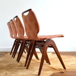 4 chaises Louis van Teeffelen teck 1960 vintage 6