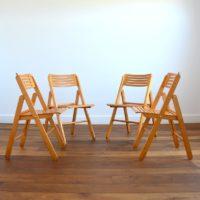 Suite de 4 chaises pliantes scandinave 1970s