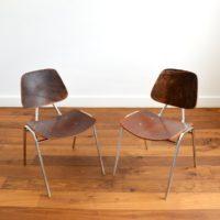 Paire de chaises Thonet en bois – métal et cuir 1950s