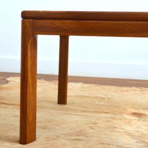 Table basse scandinave teck et verre 1970 vintage 11
