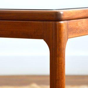 Table basse scandinave teck et verre 1970 vintage 17