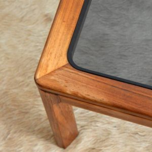 Table basse scandinave teck et verre 1970 vintage 2