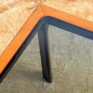 Table basse scandinave teck et verre 1970 vintage 22