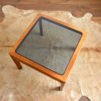 Table basse scandinave teck et verre 1970s