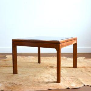 Table basse scandinave teck et verre 1970 vintage 24