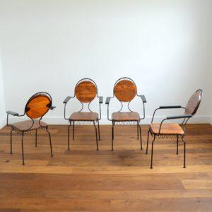 4 chaises de jardin bois et métal 1950 vintage 11