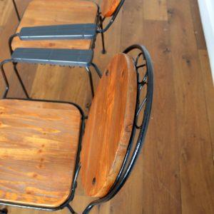 4 chaises de jardin bois et métal 1950 vintage 22