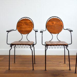 4 chaises de jardin bois et métal 1950 vintage 26