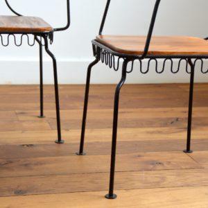 4 chaises de jardin bois et métal 1950 vintage 28