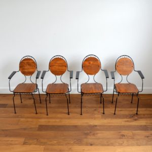4 chaises de jardin bois et métal 1950 vintage 4