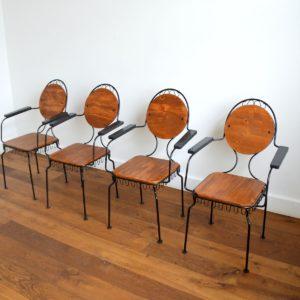4 chaises de jardin bois et métal 1950 vintage 5
