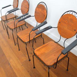 4 chaises de jardin bois et métal 1950 vintage 6