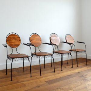 4 chaises de jardin bois et métal 1950 vintage 8
