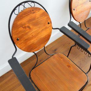 4 chaises de jardin bois et métal 1950 vintage 9
