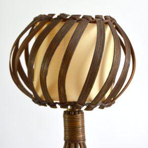 Lampe de table rotin Louis Sognot vintage 12