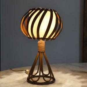Lampe de table rotin Louis Sognot vintage 2