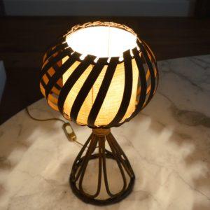 Lampe de table rotin Louis Sognot vintage 3
