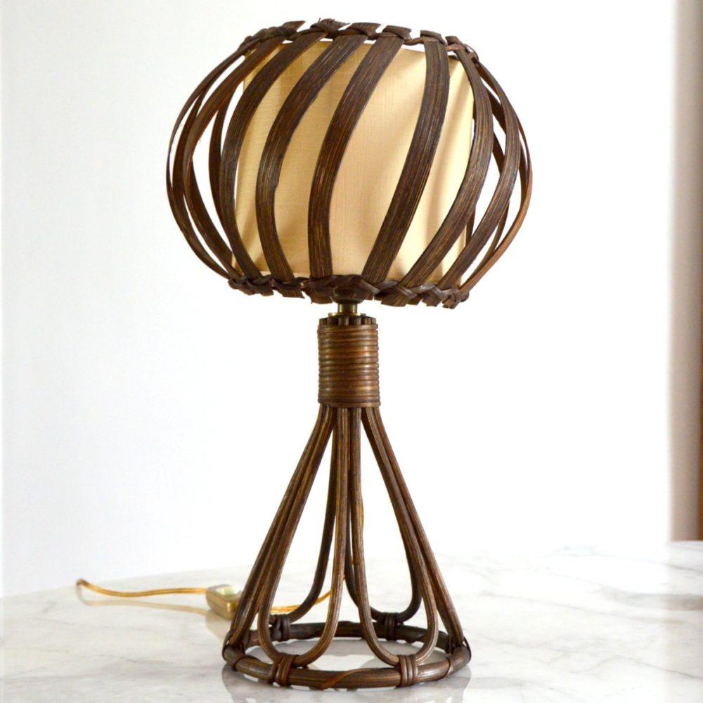 Lampe de table / de chevet Louis Sognot en rotin 1950s