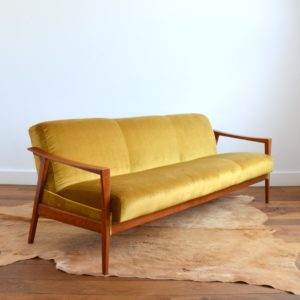 Canapé Daybed scandinave teck 1960 vintage 11