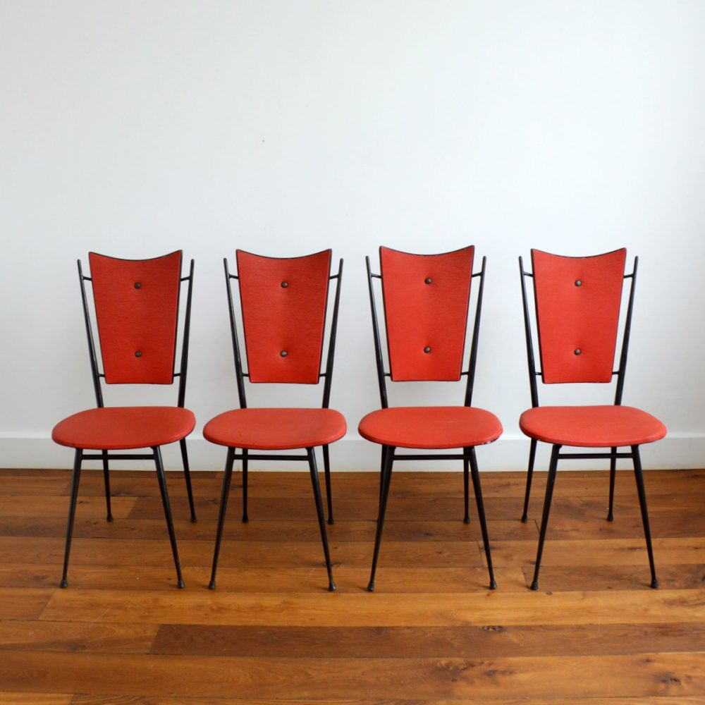 Suite de 4 chaises vintage 1950s