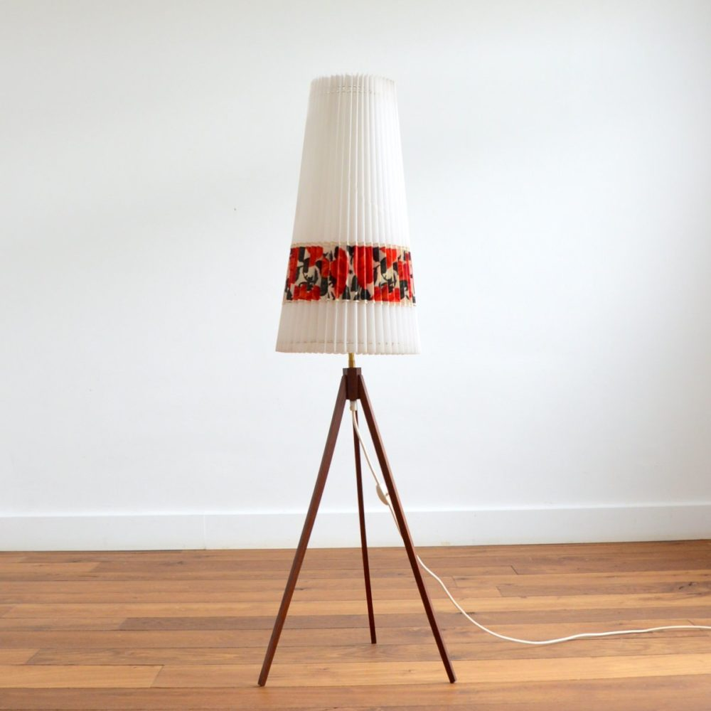 Lampe de sol / Lampadaire tripode Scandinave teck 1960s