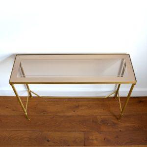 Console doré et verre style de Maison Jansen 1970 vintage 2