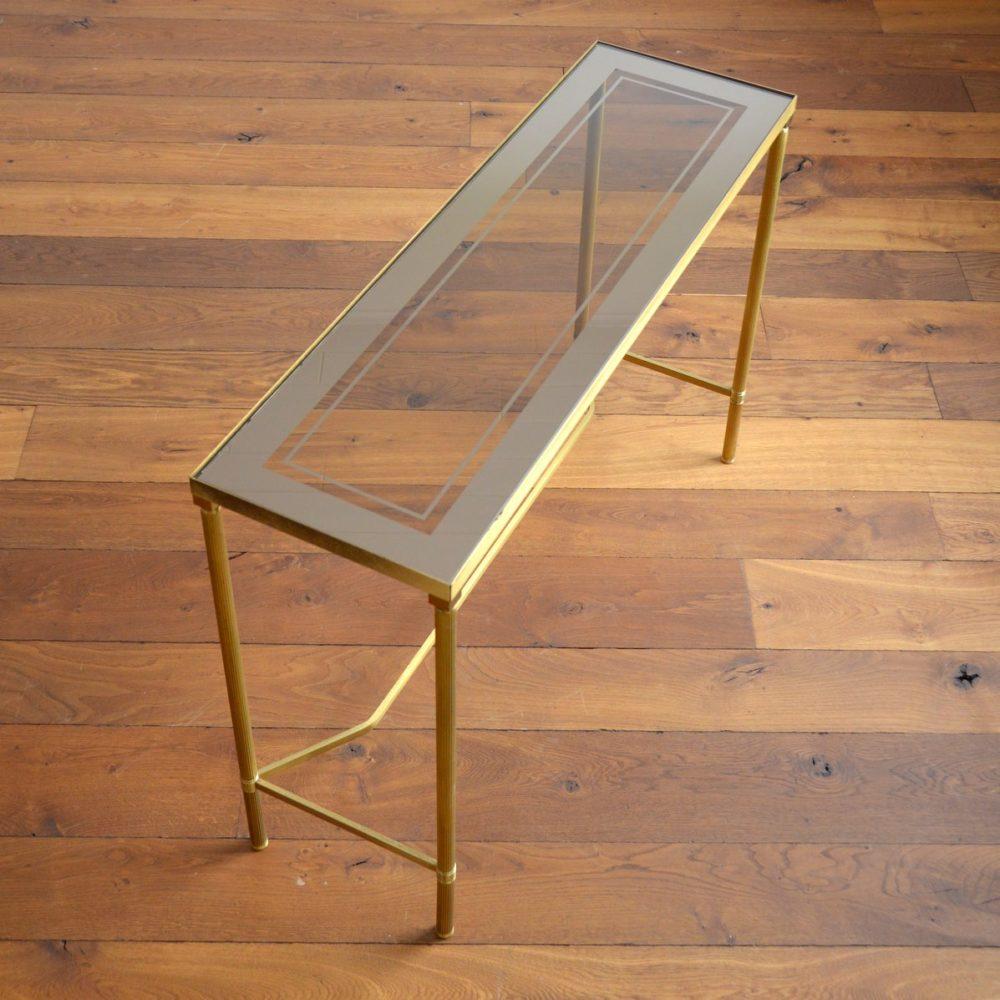 Console doré et verre dans le style de Maison Jansen 1970s